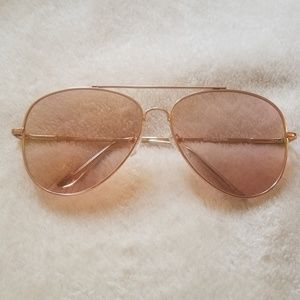 Accessories - Rose Gold Clear Aviator Glasses